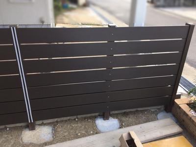 木目樹脂フェンス完成