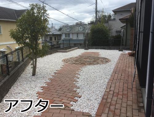 砂利できれいになった庭