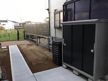 家庭菜園スペースと物置設置
