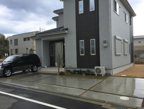 駐車場の広い外構工事完成