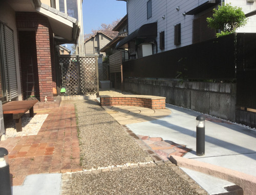 コンクリートとレンガの庭