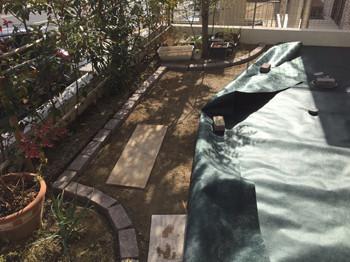 レンガ花壇造作