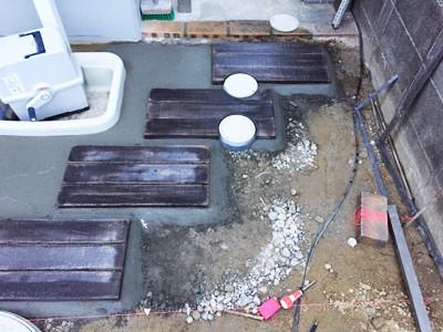 木目コンクリート平板の苑路