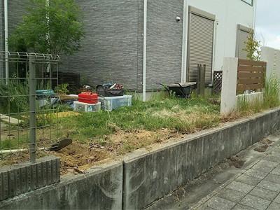 生垣を撤去した庭
