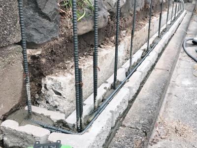 外構ブロック塀施工途中