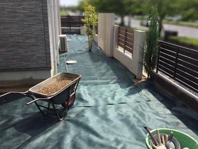 防草シートを張った庭2