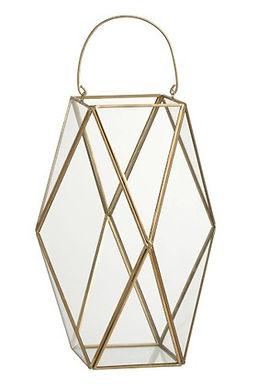 2 Lanterne Hurricane Polygon Copper / Glass Gold Large (91231)