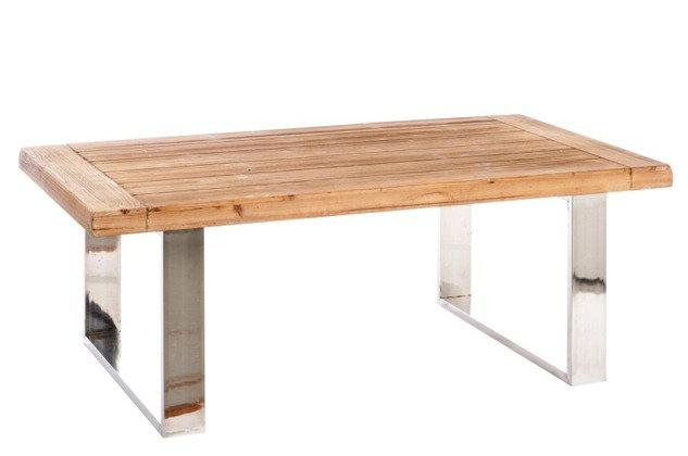 Tavolino rettangolare in legno / metallo naturale / argento 120X70X45 cm (52965)