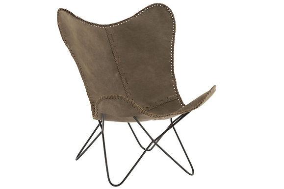 Chaise longue in pelle / metallo kaki / nero (85200)