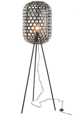Lampada da terra rotondo in bambù / metallo nero (82163)