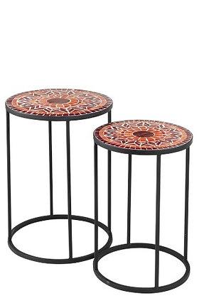 Set di 2 tavolini laterali geometrici rotondi in vetro mosaico / metallo rosso