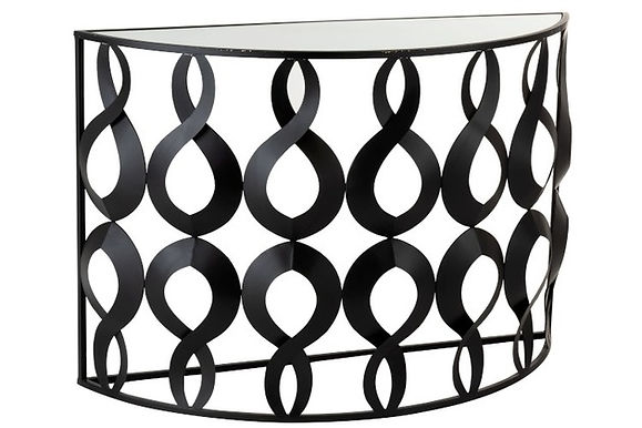 Consolle Marie Halfround Metal / Glass Black (96589)