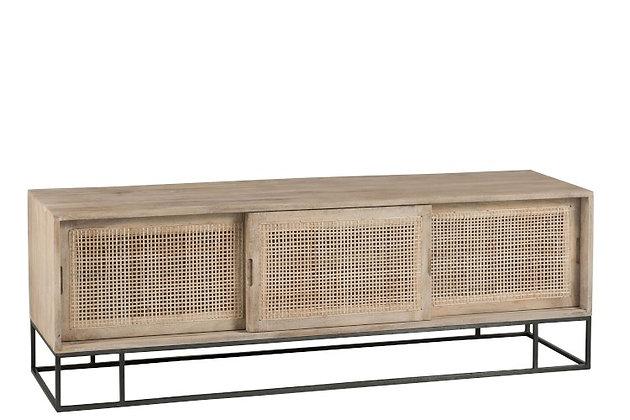 Mobile TV 3 porte scorrevoli Tessuto Reed Mango Wood Natural (91009)