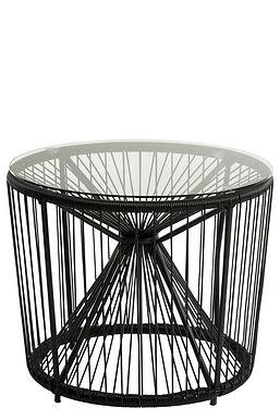 Tavolino Pam Metallo / Plastica + Vetro Bianco o nero (91310)