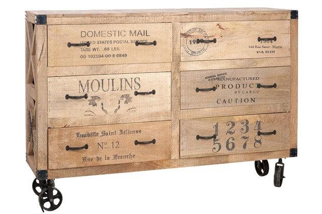 Cassettiera + ruote 6 cassetti in legno naturale (45116)