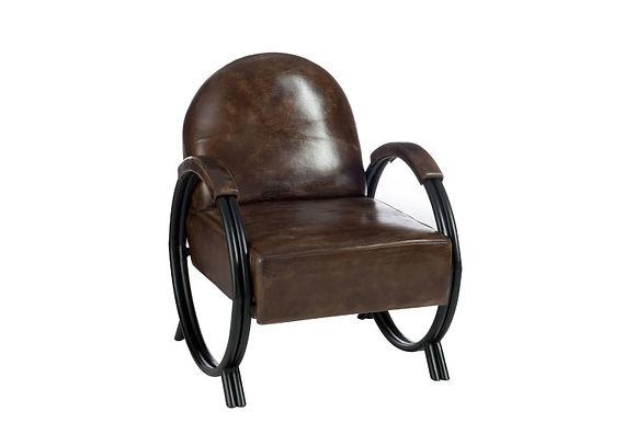 Sedia 1 Person Design Pelle / Metallo Marrone (76319)