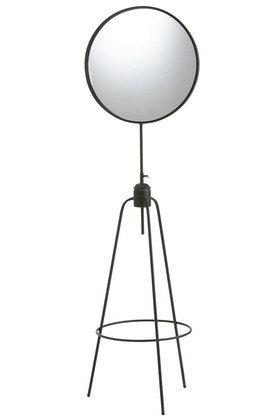 Specchio On High Foot Round Metal / Glass Black (90315)