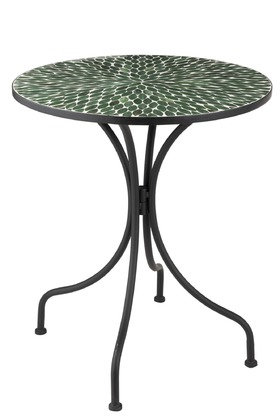 Tavolo rotondo in vetro mosaico foglia / metallo verde