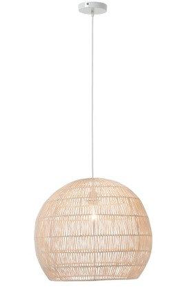 Lampada a sospensione a sfera a linee sottili metallo / rattan bianco (91098)