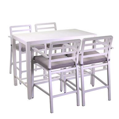 Completo pranzo bar alluminio boston bianco c/cuscini grigio e azzurro 5 pezzi