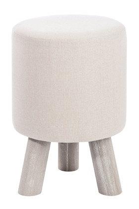 Pouf Rotondo 3 Zampe Cotone/Legno Beige