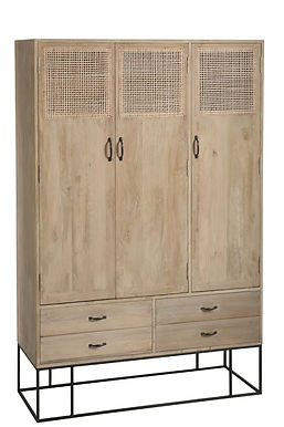 Armadio 3 porte  + 4drawers Woven Reed Mango Wood Natural (91013)