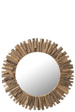 Specchio rotondo legno / vetro grande (90284)