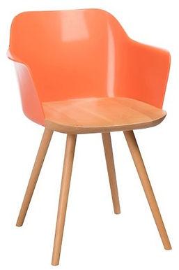 2 Sedie Retro in legno / polipropilene naturale / arancione (83265)
