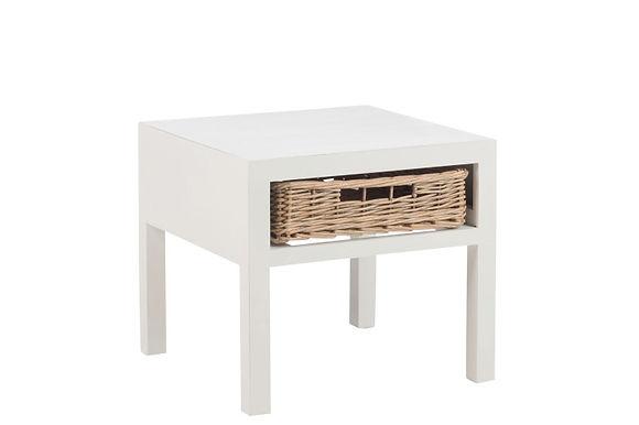 Comodino + 1 cesto in legno bianco (82471)