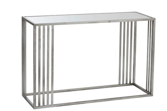 Consolle rettangolare in metallo / vetro argento (86178)