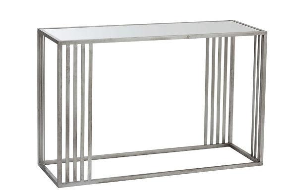 Consolle rettangolare metallo / vetro argento (86178)