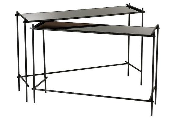 Set 2 Console rettangolare metallo / vetro nero (92031)