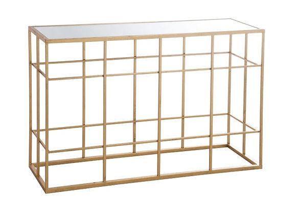 Consolle barre metallo / vetro oro (77176)