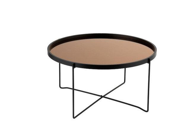 Tavolino Da Salotto Specchio Rotondo Mdf/Ferro Nero/Rosa Glossy Large (96395)