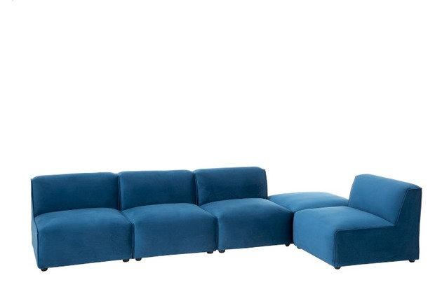 Composizione divano 4 elementi + pouf Tessuto/Legno Blu (95995)