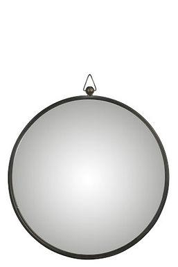 Specchio curvo in metallo nero grande (93616)