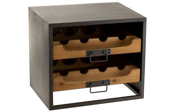 Armadietto 2 cassetti per bottiglie di vino metallo / legno naturale (1131)