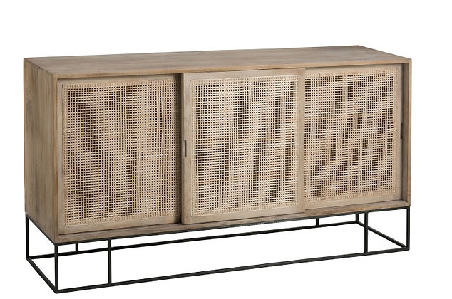 Credenza 3 sliding Doors Woven Reed Mango Wood Natural (91010)