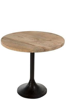 Tavolino legno tondo / metallo naturale / nero (80074)