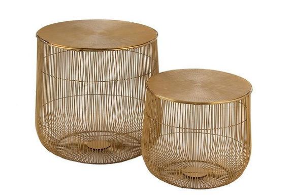 Set di 2 tavolini Basket metallo oro (97985)