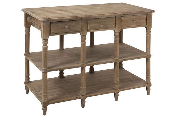 Consolle 6 cassetti in legno naturale (90326)