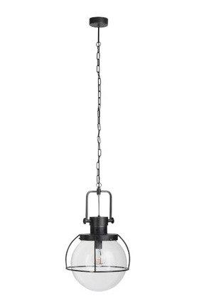 Lampada a sospensione 1 sfera metallo / vetro nero (85519)