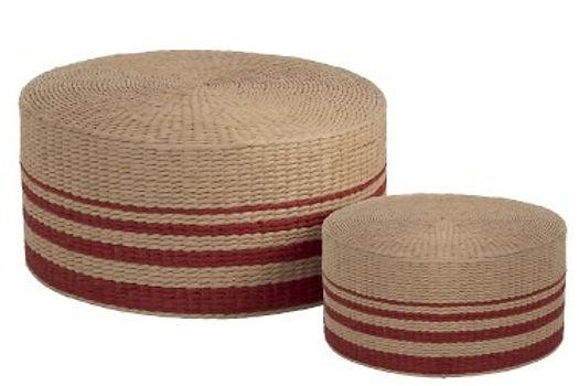 Set di 2 pouf rotondi di carta rossa naturale (91382)