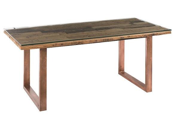 Tavolo da pranzo moderno in metallo / legno / vetro rame / naturale (85212)