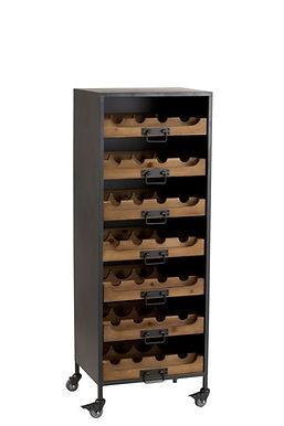 Cantinetta 7 Cassetti Per Bottiglie Di Vino Metallo / Legno Naturale (113