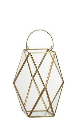2 Lanterne Hurricane Polygon Copper / Glass Gold Small (91230)