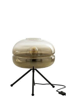 Lampada Da Tavolo Moderno Tripode Vetro/Metallo Oro/Nero (96334)
