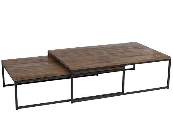 Set 2 tavolini in legno / metallo marrone + nero (78553)