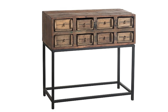 Consolle 8 cassetti in legno riciclato grezzo marrone (89000)