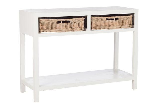 Consolle + 2 ceste legno bianco (82474)